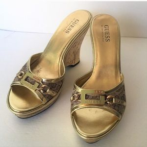 Guess gold metallic wedge mules with buckle